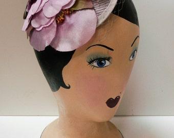 1950s Style Floral Headband // Vintage Lilac Bridal Veiling // Vintage Wedding Headpiece