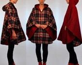 Vintage 1960s Reversible WOOL Swing Cape Tent Coat. Plaid + Oxblood red Heavy Winter Outerwear. Mini Jacket Mod boho Cloak. Small - Large