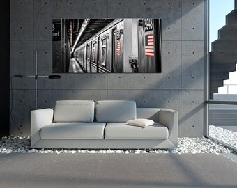 New York subway Canvas wall art, black and white New York photo/New York Art, New York City, large canvas, american flag poster
