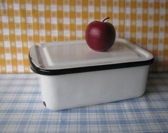 Enamel Refrigerator Pan with Lid - Black White Porcelain Enamelware - Vintage 1950's