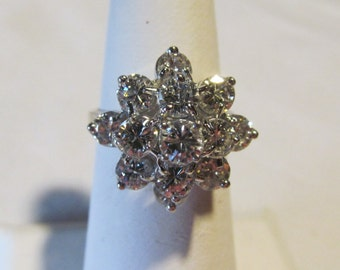 2.5 carat Diamond Ring 14kt White Gold Diamond Ring Cluster Diamond Ring With Appraisal Brilliant Diamond White Gold Diamond Cocktail Ring