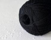 Cobweb black color wool yarn - haapsalu shawl yarn