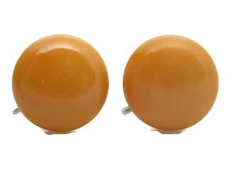 Cream Corn Bakelite Button Earrings