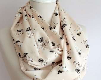 Pug Dog Pattern Infinity Scarf Dog Scarf Circle Scarf Scarves, Gift ideas for her Spring - Summer - Fall - Winter Scarf