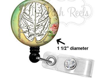 Brain Anatomy Badge Holder - Human Brain Badge Reel - Neurologist - Choice of Badge Reel, Stethoscope ID Tag, Carabiner or Lanyard - 1320
