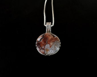 Mesmerizing Vintage Crazy Lace Agate Gemstone Sterling Silver Pendant Necklace