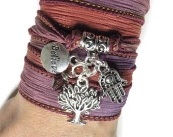 Bohemian Hamsa Hand Dyed Silk Wrap Bracelet Tree Of Life Wrist Band Yoga Bracelet Tree Of life Jewelry Spiritual Believe Birthday Gift