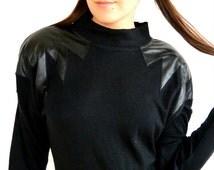 80's Black Long-Sleeved Dress // All That Jazz // Mock Turtle-Neck // Shoulder Pads // Medium