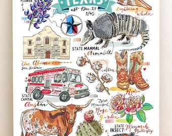 Texas Print, illustration, state symbols, the Lone Star State, armadillo, longhorn cow, Alamo, cowboy.
