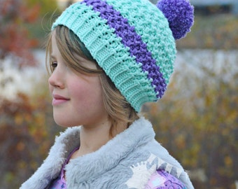 Girls Striped Beanie, Crochet Winter Hat, Girls Pompom Hat,  Kids Crochet Beanie, Toddler Winter Hat, Boys Striped Beanie, Adult Pom pom Hat