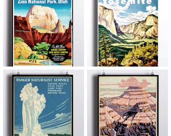 National Park Poster Set - Vintage Prints - Yosemite Print Grand Canyon Yellowstone National Park Zion National Park Wall Prints Travel