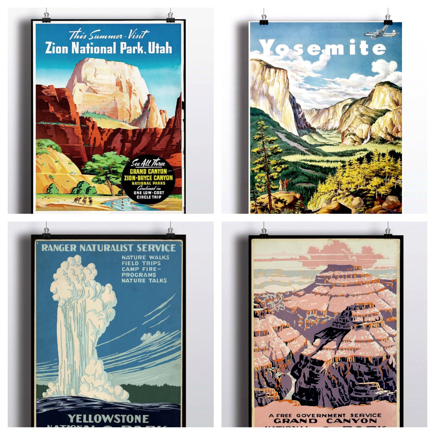Art Yosemite Poster Vintage National Parks Travel Print Wall: National Park Poster Set Vintage Prints Yosemite Print