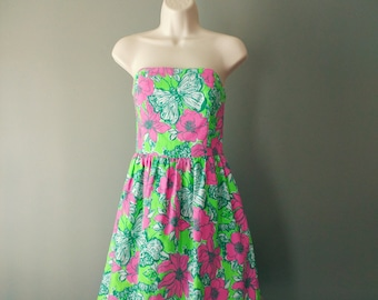 Vintage Lilly Pulitzer Strapless Party Dress, Size 2 Lottie Green Bloomin' Cacoonin' Short Dress