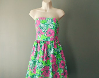 Lilly Pulitzer Strapless Dress / Size 2 Lottie Green Bloomin' Cacoonin' Short Dress