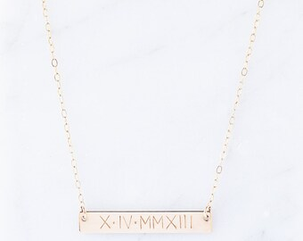 Roman Numeral Necklace, Custom Date Necklace, Birthdate Necklace, Custom Roman Numeral Necklace, Wedding Jewelry, Dainty Gold Necklace