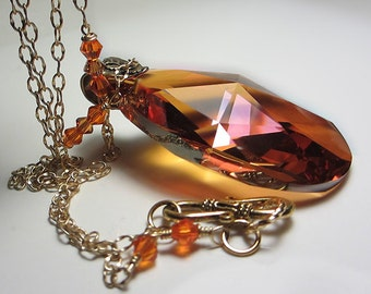Extra LARGE Swarovski Topaz Necklace Golden Amber Necklace Swarovski Yellow Honey Orange Crystal Necklace  Exotic Orange Sunset Necklace