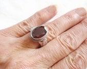 Vintage Garnet Silver Ring - Vintage HUGE Garnet Silver Ring - Timeless Garnet Statement Ring - Boho Ring - Gift for Her