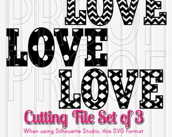 Love SVG Set of 3 Cutting Files with PNG & jpg format Chevron Letters Polka Dot Letters Moroccan Letters Commercial Use Cut Files letter svg