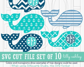 Monogram SVG Files Set includes 10 cutting files {SVG/JPG formats}! Commercial use ok! Whale svg Set 2 {no letters included}