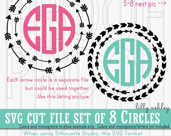 Monogram SVG Files Set of 8 in SVG, PNG, & jpg formats. Commercial Use ok! 8 Arrow Circles arrow svg monogram ready {no letters included}