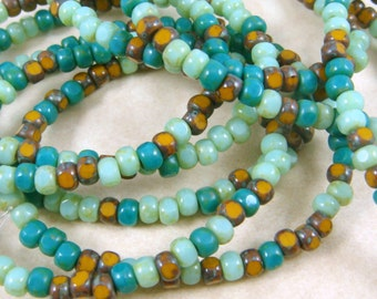 Czech Beads, Trica Beads, Czech Glass Seed Beads - Turquoise, Mint & Mustard (TRICA/N-1151) - 3x4mm - Qty. 50