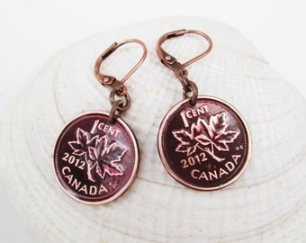 Collectible Canadian Penny Earrings