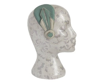 Sage Green, Beige and Silver Art Deco Fascinator - Zips And Felt