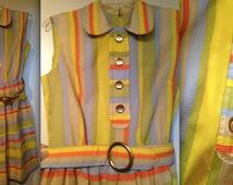 KAY WINDSOR VINTAGE Dress Peter Pan Collar Orange Striped with Belt Stripe Mid Century Mod Modern Mad Men Eames era Modcloth lovely original