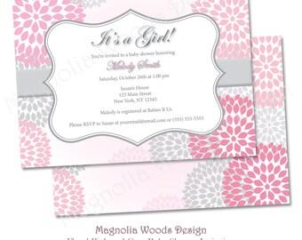 Girl Baby Shower Invitation, Floral Pink and Gray Baby Shower Invitation, Pink Flower Baby Shower Invitation - Printable Digital File