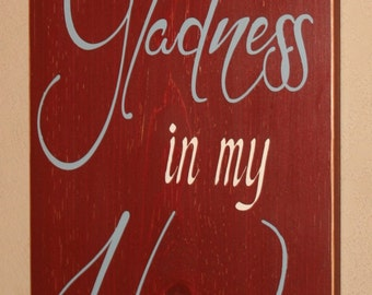 Signs of Faith, Inspirational Signs, Distressed Wood Sign, Religious Sign, Bible Verse Sign - Thou Has Put Gladness In My Heart Psalm 4:7