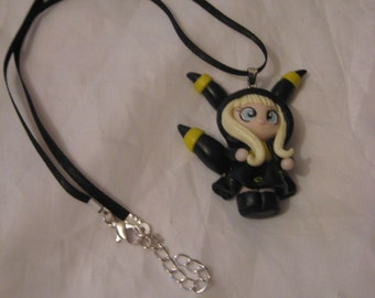 Kawaii hooded Umbreon fan polymer clay charm necklaces
