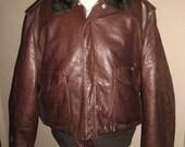 Stunning Vintage  Schott I-S-674-M-S  , Brown Burgundy Color , Fur Flight Leather Jacket Sz 50 L , Excellent Condition