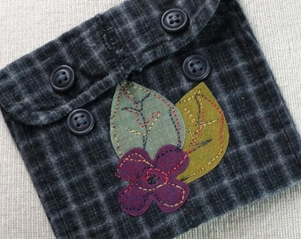 Little Grey Flannel Artsy Pouch Repurpose Reuse Coin Pouch Gift Card Holder Money Pouch