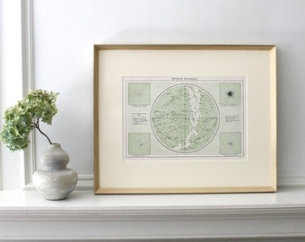 1898 Antique Star Constellation Map Published in Germany Framed 16 x 20 inches