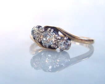 Art Deco Diamond Trilogy Ring - 18K Gold & Platinum Engagement, Anniversary or Wedding Ring .45 carats TCW - Size 5 3/4 - Easy to re-size