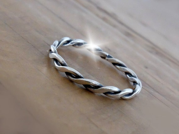 Oxidised Twisted Silver Stacking Ring, Two Strand Silver Ring, Slim Silver Ring, Twisted Silver Ring, Silver Stacking Rings, Narrow Rings
