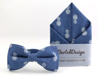 Pineapple Bow Tie Blue Pocket Square Matching Set Jeans Bow Tie Denim Bow Tie Pineapple Handkerchief Jeans Wedding Set Fruit Bow Tie for Men
