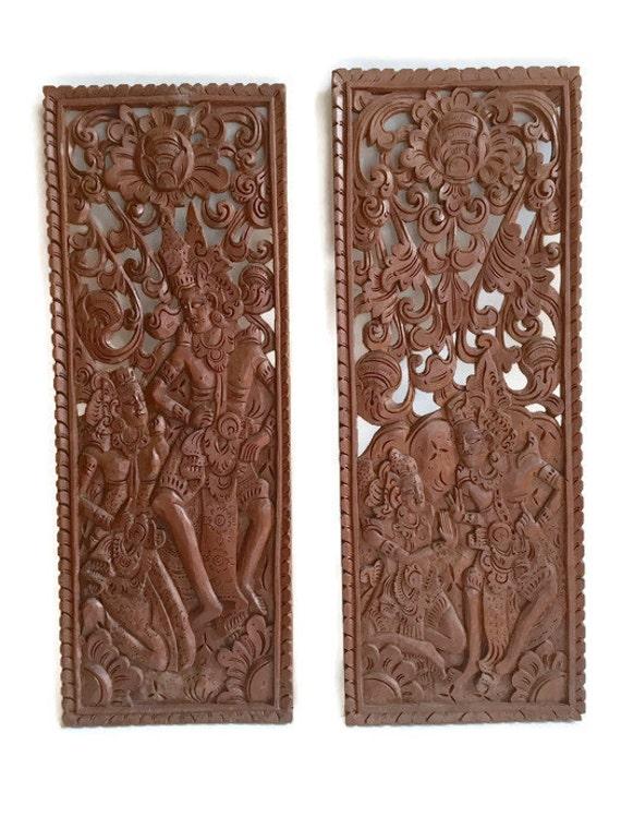 Vintage balinese wood carved panels hindu deity anka