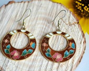 Retro Oriental Hoop Earrings