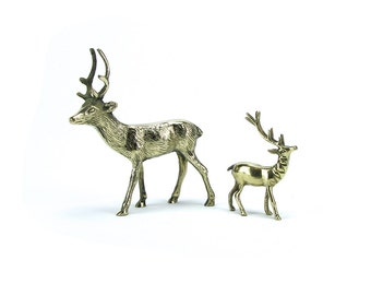 FREE SHIP! Pair of Vintage Brass Deer Stag - Gold Hollywood Regency - Christmas Wedding Baby Shower Woodland Animals - Mid Century Buck Hunt