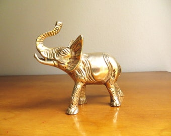 Vintage Brass Baby Elephant Figurine, Elephant Statue, African Animal Collectible, Paperweight