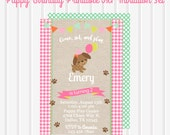 Pink Puppy Birthday Party Invitation/Girl Puppy Birthday Invitation/Puppy Theme Party/Puppy Birthday Party/Puppy Dog Theme/ Pawty Birthday