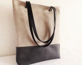 Leather tote bag large tote bag vegan leather tote beige
