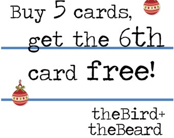 Holiday Card Mix and Match - Buy 5 cards, get the 6th free! Christmas and Hanukkah Cards
