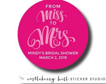 From Miss to Mrs stickers, shower stickers, bachelorette stickers, bridal shower labels, shower favors, lingerie shower stickers for showers
