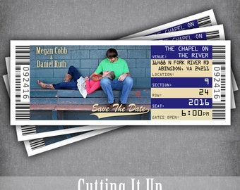 Baseball Save The Date Ticket Magnets, Wedding Tickets, Photo Magnet, Sports Theme, DIY Save The Date Template, Tampa Bay Rays