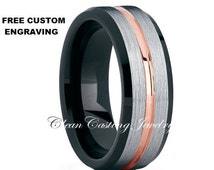 Satin Polish Tungsten Ring,Black Tungsten Ring,Mens Ring,Beveled Edges,His,Hers,Anniversary Ring,Custom,Handmade,8mm,6mm,18k Rose Gold