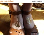 SUMMER SALE Gold Anchor and Compass temporary tattoo nautical beach