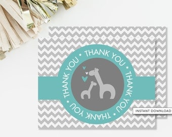 Giraffe Thank You Card, Giraffe Baby Shower, Chevron Thank You, Printable Thank You, Teal and Gray, Gender Neutral, INSTANT DOWNLOAD, #G1