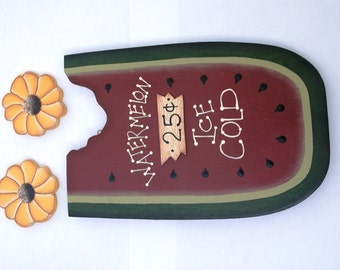 "August Watermelon and Sunflower Set for ""Monthly Interchangeable Welcome Sign""  - Wood Door or Wall Sign Hanging"